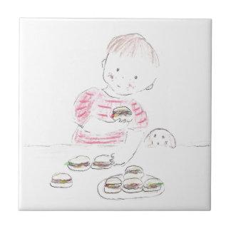 Boy with Hamburgers Ceramic Tiles
