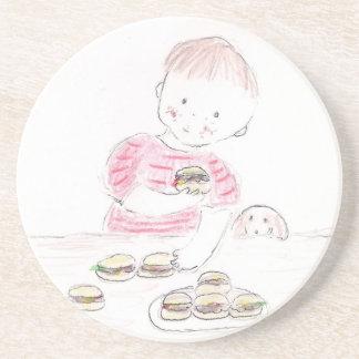 Boy with Hamburgers Drink Coaster