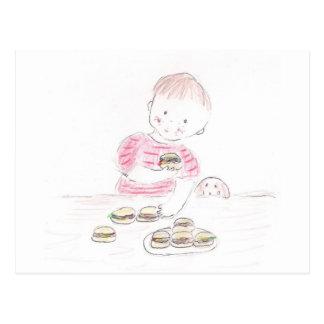Boy with Hamburgers Post Card