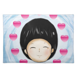 Boy with heart place mat