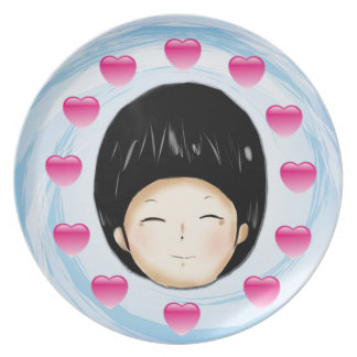 Boy with heart party plates