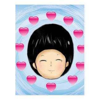 Boy with heart postcard