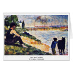 Boy With Horse By Seurat Georges Greeting Cards