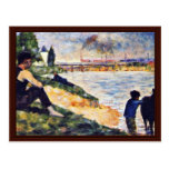 Boy With Horse By Seurat Georges Postcard