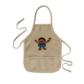 Boy with Ice Cream in Hand Cartoon Kids' Apron