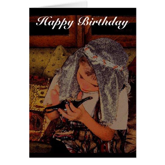 Boy with magic lamp - Birthday card
