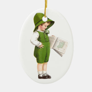 Boy with Map of Ireland Vintage St Patrick's Day Ceramic Ornament