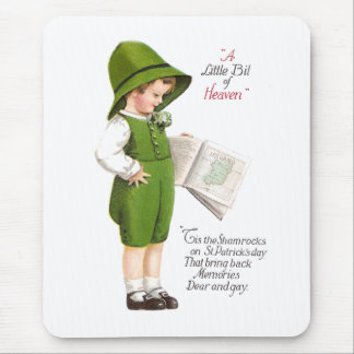 Boy with Map of Ireland Vintage St Patrick's Day Mouse Pad