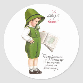 Boy with Map of Ireland Vintage St Patrick's Day Round Stickers