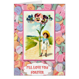 Boy with pansies card