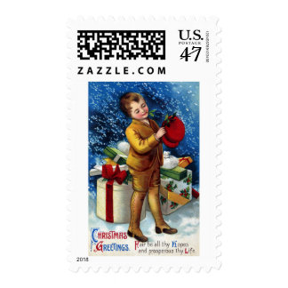 Boy with Pile of Presents in the Snow Postage