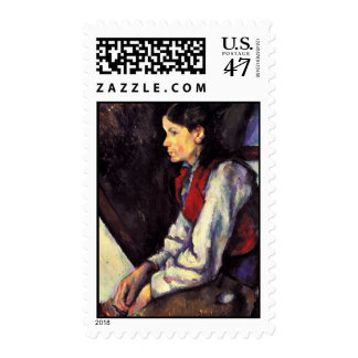 Boy With Red Vest Paul Cezanne painting art Postage