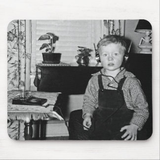 Boy With Retro Crystal Radio Set Mouse Pad