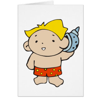 Boy with Seashell Greeting Card