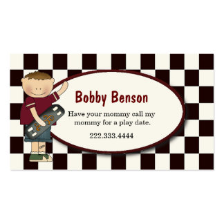 Boy with Skateboard Checked Play Date Card Business Card