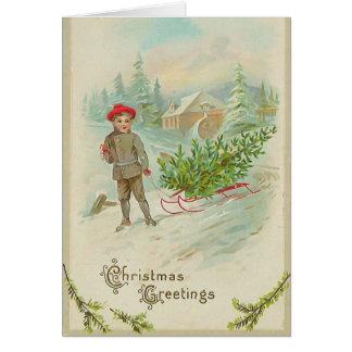 Boy with Sled Christmas Card