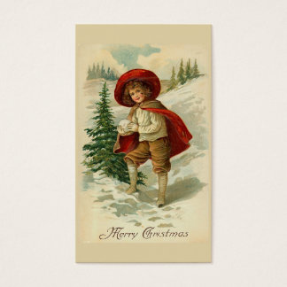 """Boy with Snowball"" Vintage Christmas Business Card"