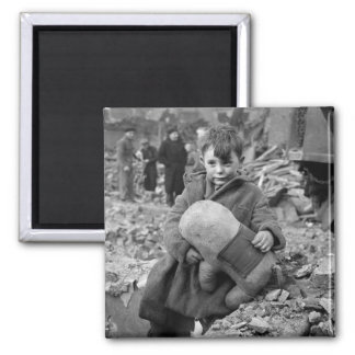 Boy with Stuffed Animal, 1945 2 Inch Square Magnet