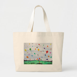 Boy with the balloons large tote bag