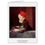 Boy With The Cherries By Manet Edouard Card