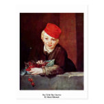 Boy With The Cherries By Manet Edouard Post Cards