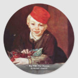 Boy With The Cherries By Manet Edouard Round Stickers