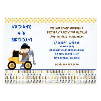 Boy with Towtruck Birthday Party Invitation