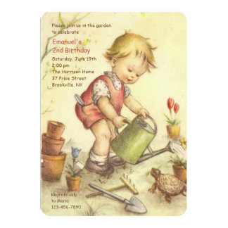 Boy With Watering Can Invitation