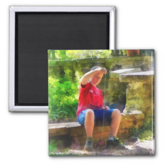 Boy With Yoyo 2 Inch Square Magnet