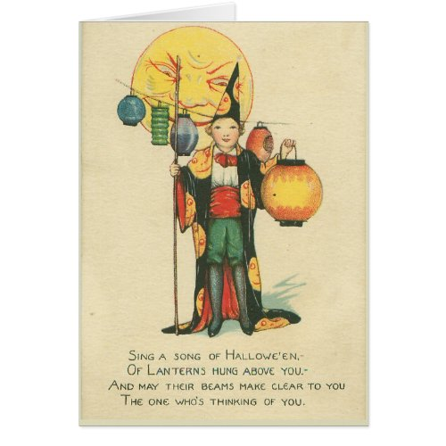Boy Wizard Halloween Costume Card