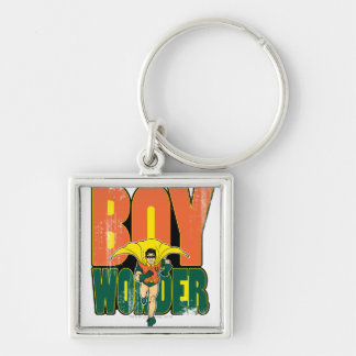 Boy Wonder Graphic Silver-Colored Square Keychain