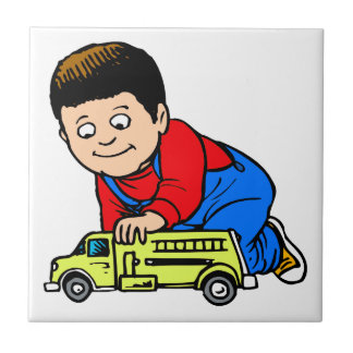 Boy yellow fire truck ceramic tile
