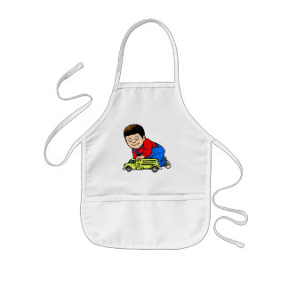 Boy yellow fire truck kids' apron