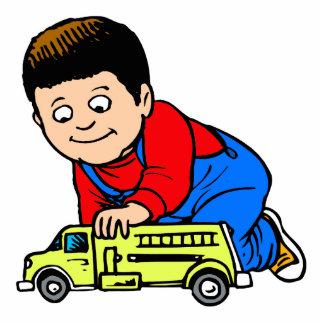 Boy yellow fire truck photo sculpture