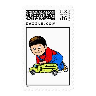 Boy yellow fire truck postage