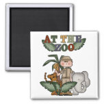 Boy Zoo Keeper Tshirts and Gifts 2 Inch Square Magnet