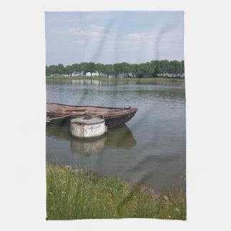boya náutica del barco del envío, canal del muelle toalla de cocina