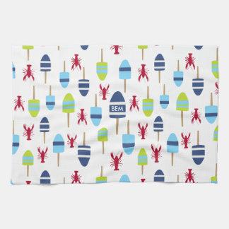 Boya náutica y langosta del tema cones monograma toallas