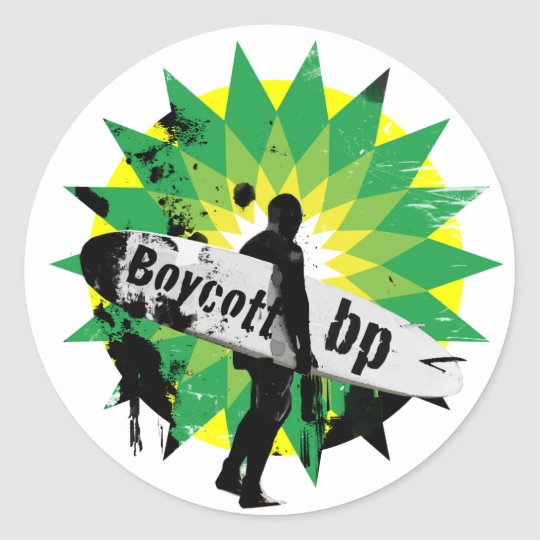 Boycott bp classic round sticker