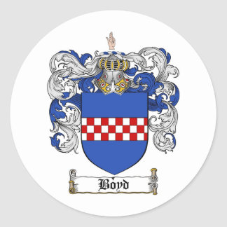 BOYD FAMILY CREST -  BOYD COAT OF ARMS CLASSIC ROUND STICKER