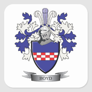 Boyd Family Crest Coat of Arms Square Sticker