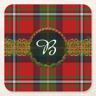 Boyd Tartan And Monogram Square Paper Coaster
