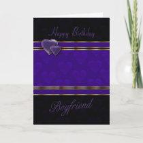 boyfriend birthday card modern design, purple and cards