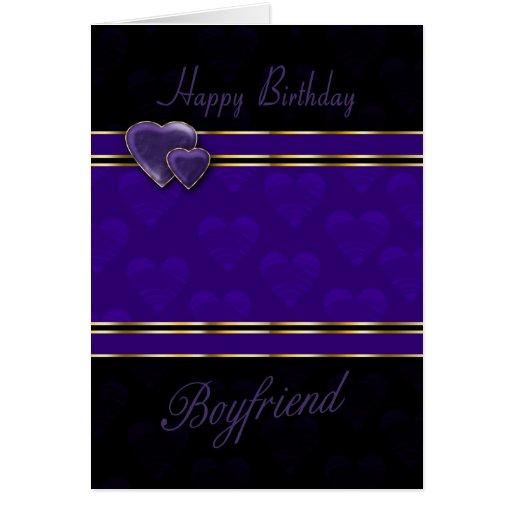 11 Boyfriend Birthday Card Designs Templates: Boyfriend Birthday Card Modern Design, Purple And
