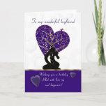 """boyfriend birthday card modern design, purple and<br><div class=""""desc"""">boyfriend birthday card modern design,  purple and white</div>"""