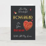 """Boyfriend, Birthday With Gold Effect And Hearts Card<br><div class=""""desc"""">A modern birthday card for your loved one,  with embossed effect text and hearts (digitally designed they are not really embossed just have that effect) Stylish romantic and modern but remaining perfect for Men with colors and sentiments.</div>"""
