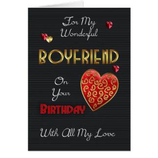 Boyfriend, Birthday With Gold Effect And Hearts Card