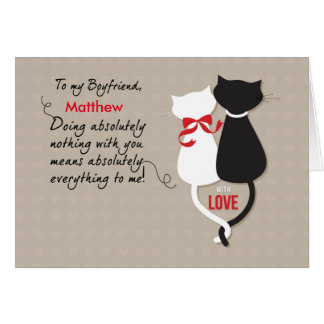 Boyfriend Cats in Love Valentine, Custom Personali Card