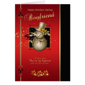 Boyfriend Christmas Card - Gold Effect Snowman - R