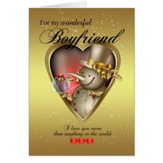 Boyfriend Christmas Card - Snowman In Heart